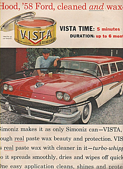 Vista simoniz for cars ad 1958 (Image1)