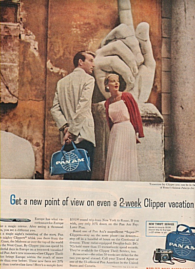 1958 Pan Am Airline Clipper Vacation Print Ad To Rome