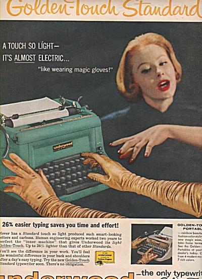 1958 Underwood Typewriter Print AD Magic Gold Gloves (Image1)