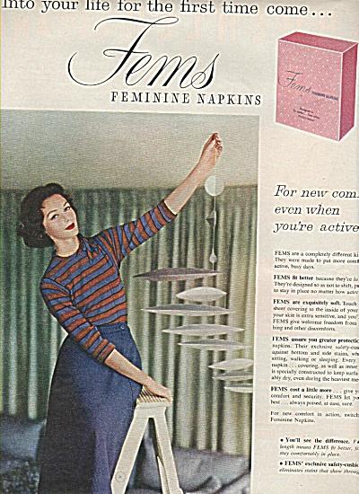 Fems feminine napkins ad -1958 (Image1)