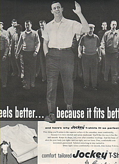 1958 Jockey T-Shirt Mens Print AD Hunky Guys Walking (Image1)