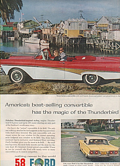 1958 Ford Automobile Car Print Ad - Red Thunderbird