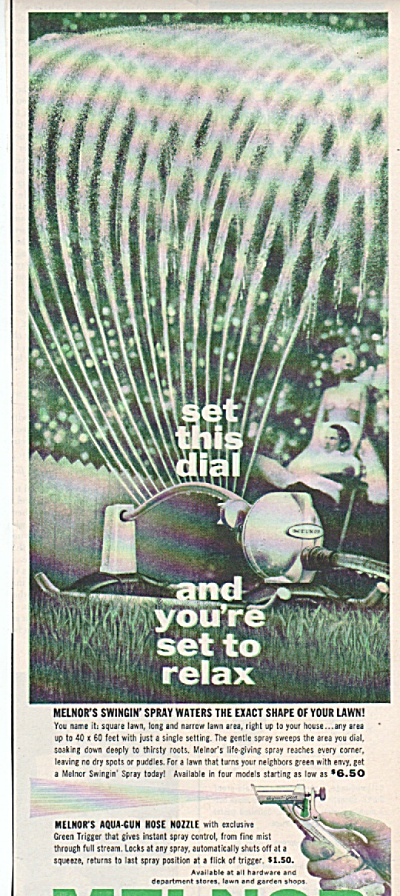 1958 Melnor sprinklers and nozzles Print AD (Image1)