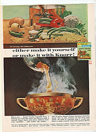 1964 Knorr Vegetable Soup Print Ad Vintage Cup