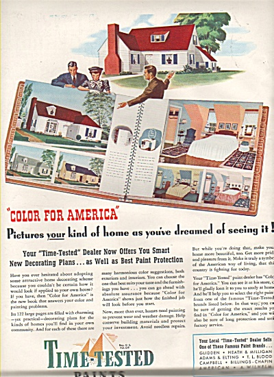 1942 Time Tested Paints Print AD - Color for America (Image1)