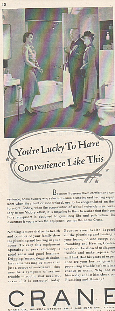 1942 WWII Crane Plumbing Print AD - Hard to Get BR (Image1)