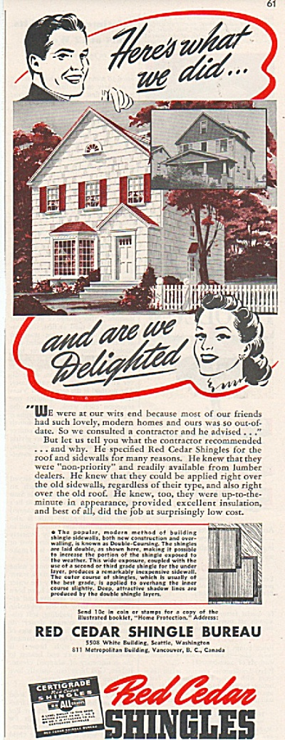 1942 Red Cedar Shingles Bureau Print AD Cute Couple (Image1)