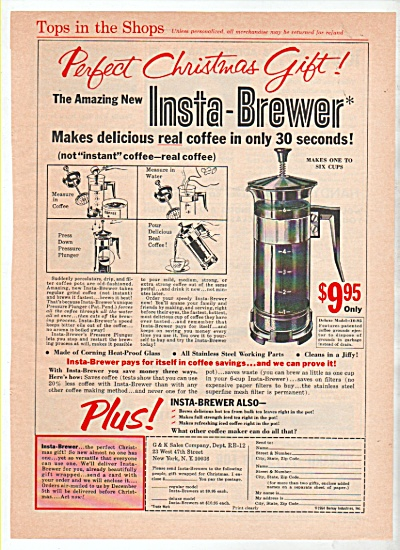 1942 Insta-brewer Coffee Pot Maker Print Ad Pressure