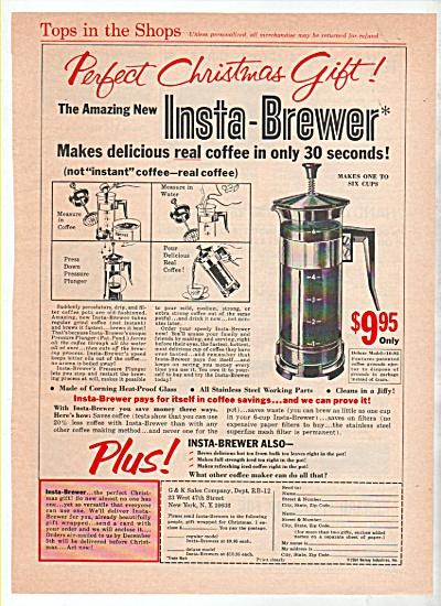 1942 Insta-brewer Coffee Pot Maker Print AD Pressure  (Image1)