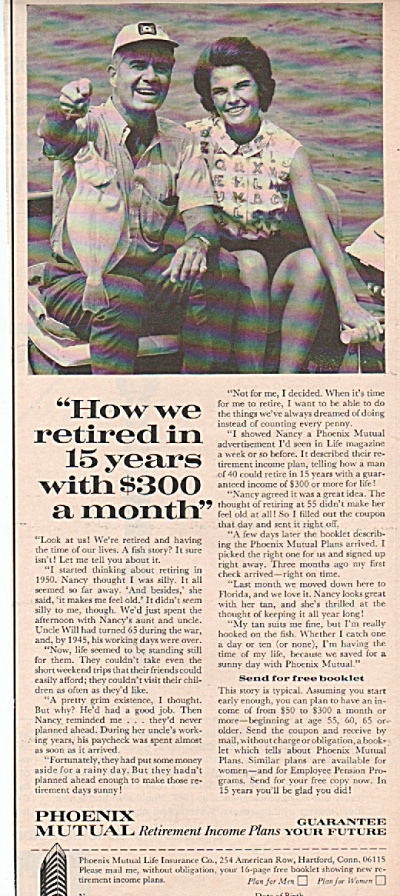 1966 Phoenix Mutual Print AD RETIRE on $300 a month (Image1)