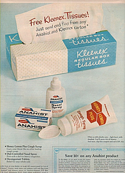 Anahist  nasal spray - Kleenex tissues ad 1966 (Image1)