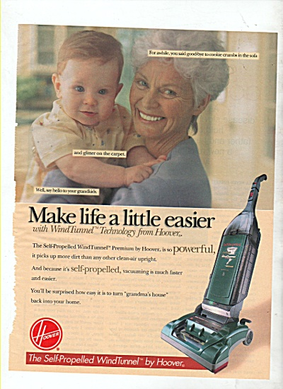 1999 Hoover Self Propelled Windtunnel Vacuum Print Ad
