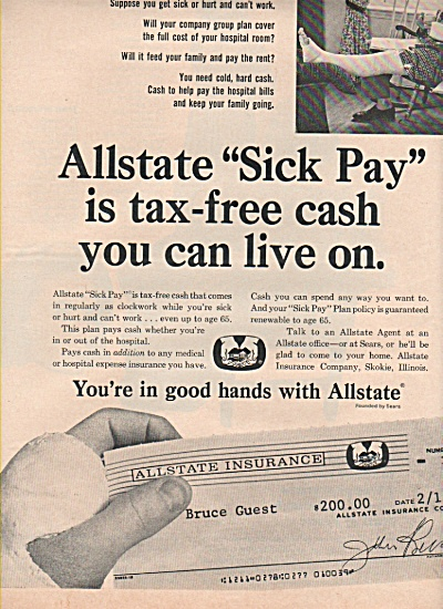 1966 All State Insurance Sick Pay Print AD $200 ?? (Image1)