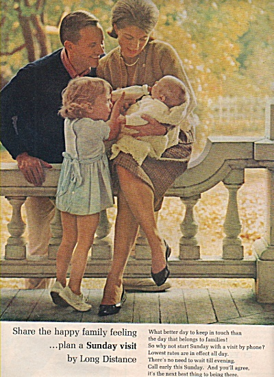 1966 AT&T Bell Telephone Print AD Family w New Baby (Image1)