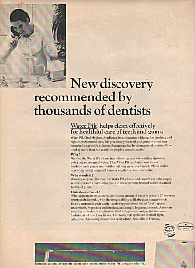 1966 Water Pik  Print AD - NEW DISCOVERY  (Image1)