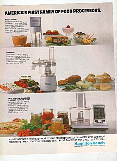 Hamilton Beach Food Processors Ad 1988