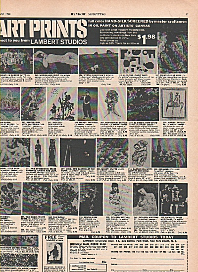 Lambert studies - art prints ad 1968 (Image1)