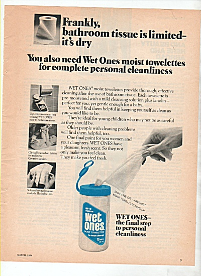 Wet Ones towelettes ad 1974 (Image1)
