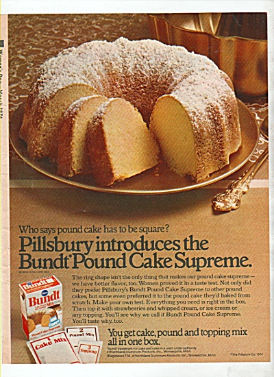 Pillsbury Bundt Pound Cake Supreme Ad 1974