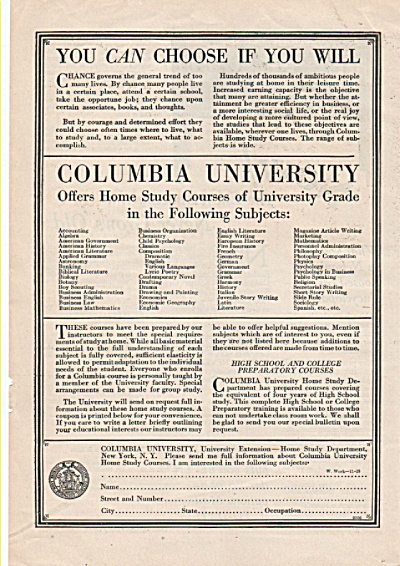 Columbia University ad 1928 (Image1)