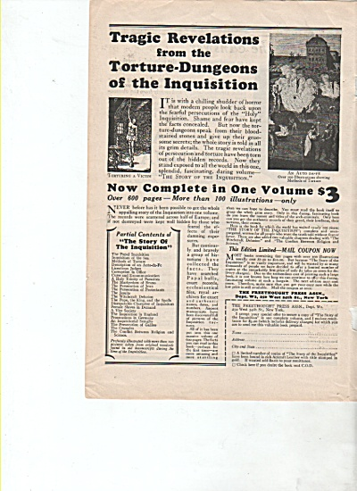 Tragic Revelations Fromthe Torture-dungeons -1928