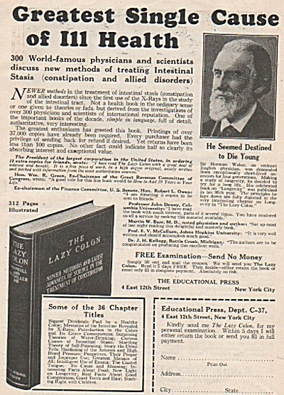 Educational Press -  The Lazy Colon book  1928 (Image1)