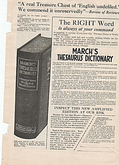 March's Thesaurus Dictionary Ad 1928