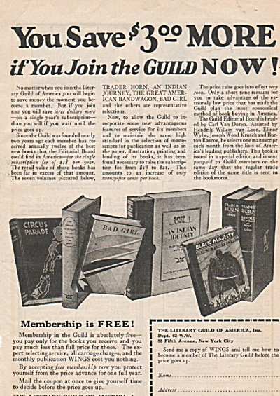 The Literary Guild Of America Ad 1928