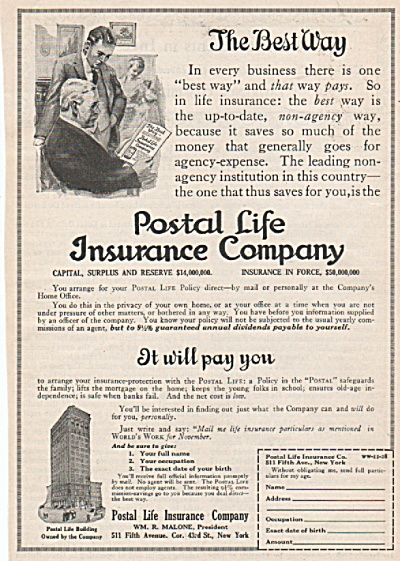Postal Life insurance company ad 1928 (Image1)