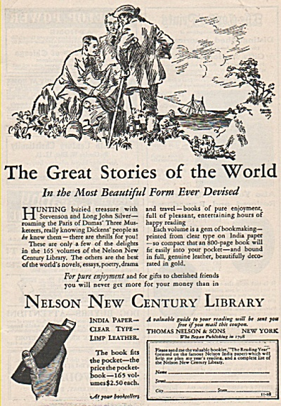 Nelson New Century Library Ad 1928