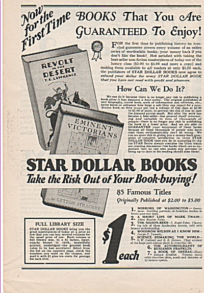 Star Dollar Books Ad 1928