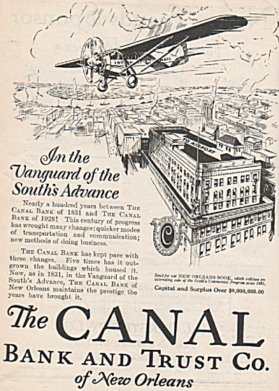 The Canal Bank & Trust co.  of New Orleans ad 1928 (Image1)