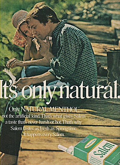 Salem filter cigarettes ad 1971 IT'S ONLY NATURAL (Image1)