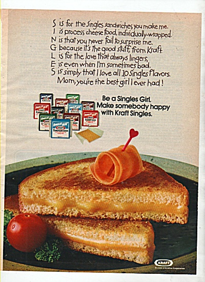 Kraft single sliced cheese ad 1974 (Image1)