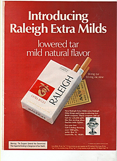 Raleigh extra milds cigarettes ad 1974 (Image1)
