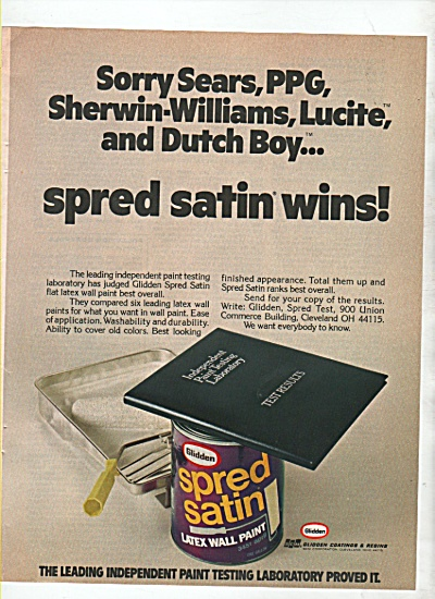 Glidden spred satin latex wall paint ad 1974 (Image1)