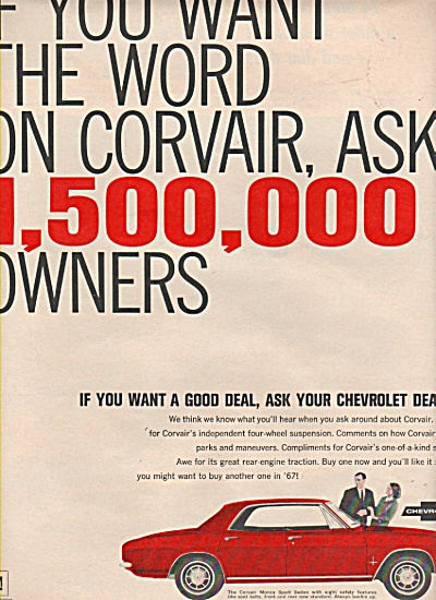 Chevrolet Corvair Ad 1966