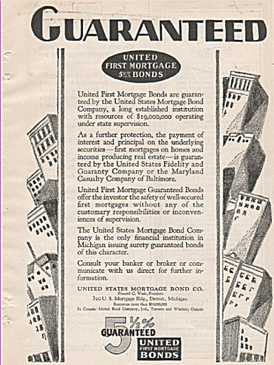 United first mortgage bonds ad 1928 (Image1)