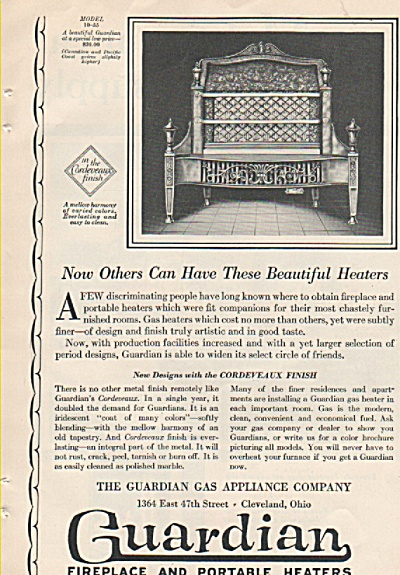 Guardian fireplace and portable heaters ad 1928 (Image1)
