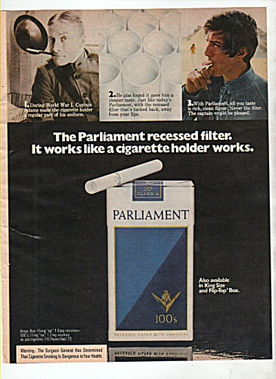 Parliament 100s cigarettes ad 1974 (Image1)