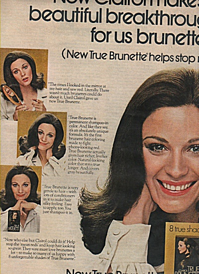 New True Brunette by Clairol ad 1972 (Image1)