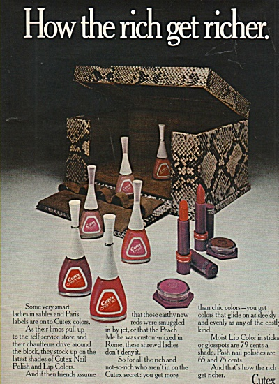 Cutex nail polish and lip colors ad 1972 (Image1)