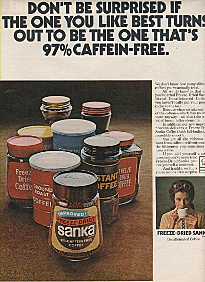 Freeze dried Sanka decaffeinated coffee ad 1972 (Image1)