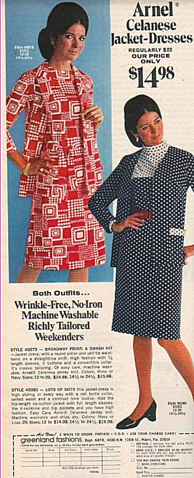 Arnel Celanese jacket dresses ad 1972 (Image1)