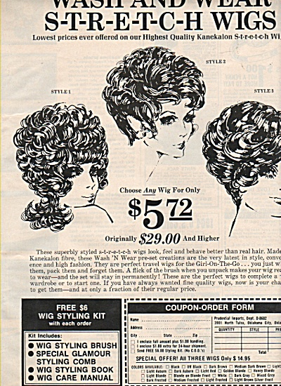Wash & Wear stretch wigs ad 1972 (Image1)