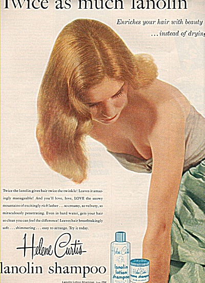 Helene Curtis lanolin shampoo ad -1954 BLONDE MODEL (Image1)
