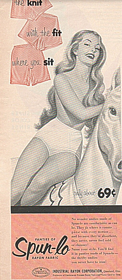 Spun-lo rayon fabric ad 1954 WOMEN in UNDERWEAR (Image1)