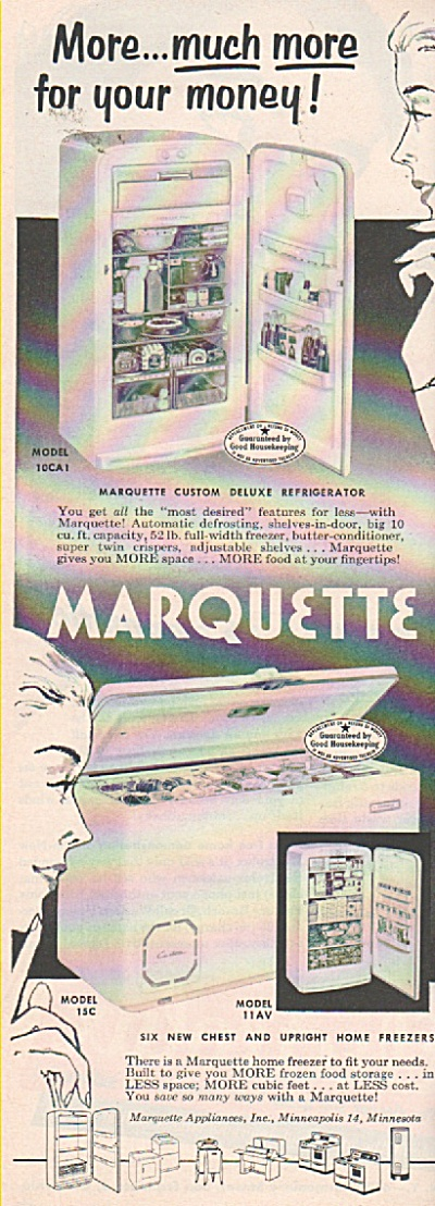Marquette  refrigerator and freezer ad 1953 (Image1)