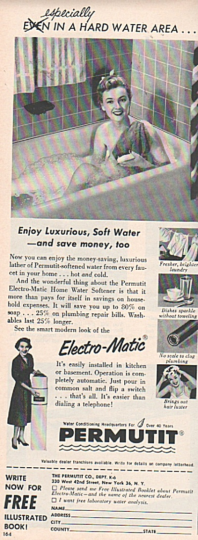 Permutit electro-matic home water softener ad 1953 (Image1)