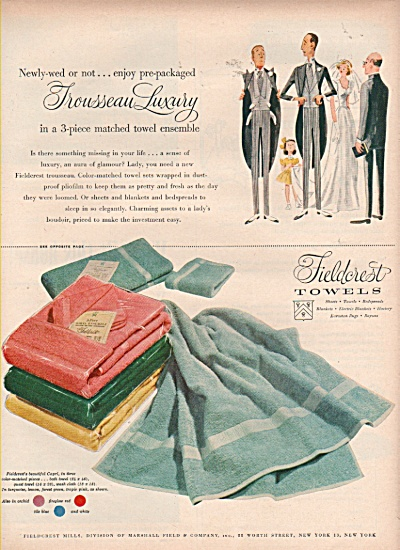 Fieldcrest towels  ad 1953 (Image1)